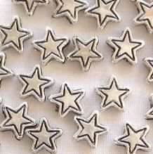Silver Plated 7mm Star Beads - 20